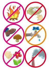 придумай и нарисуй экологические знаки запрещающие ловить