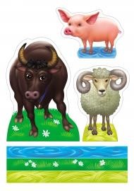 Бык, баран, свинья. Картинки животных для макета своими руками