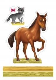 Домашние животные для изготовления макета «Животные». Лошадь, кот
