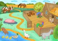 В деревне. Домашние животные и птицы
