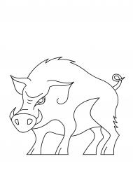 кабан раскраска скачать и распечатать животные дикие