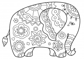 раскраска антистресс слон скачать и распечатать животные