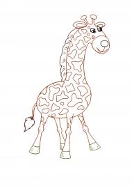 Жираф. Раскраска с цветным контуром — скачать и ...