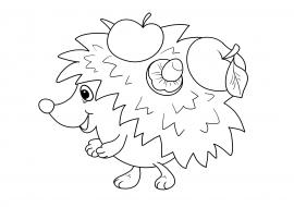 Ежик с яблоками — скачать и распечатать. Животные — Дикие ...