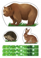Дикие животные для макета «Лес»: медведь, еж, заяц