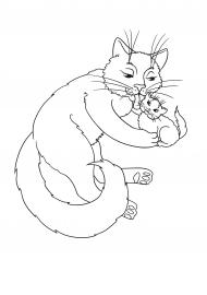 кошка и котенок раскраска скачать и распечатать животные