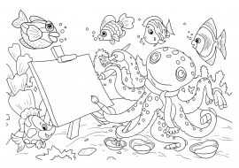 художник осьминог раскраска по теме изучаем цвета