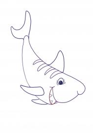 Акула. Раскраска — скачать и распечатать. Животные ...