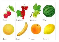Фрукты и ягоды: малина, арбуз, банан, апельсин...