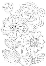 Крупные сказочные цветы. Раскраска — скачать и распечатать ...