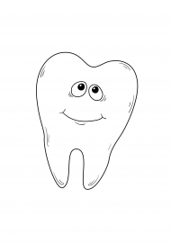 Зуб. Раскраска симпатичного зубика — скачать и распечатать ...