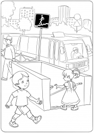 Раскраска правила дорожного движения с дедом морозом