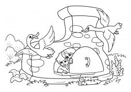 гуси лебеди печка из сказки раскраска скачать и