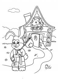 Иллюстрация-раскраска к сказке «Заюшкина избушка ...