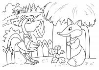 Раскраска по сказке «Лиса и журавль»