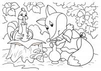 Журавль угощает лисицу. Иллюстрация из сказки «Лиса и журавль»