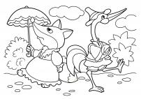 Лиса и журавль. Картинка из сказки.