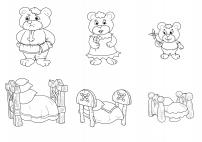 три медведя и их кровати раскраска скачать и распечатать