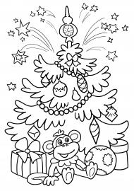 Новогодняя елка. Раскраска — скачать и распечатать ...