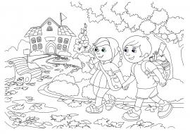дети идут в школу раскраска к 1 сентября скачать и