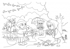 Дети собирают грибы. Осенняя раскраска — скачать и ...