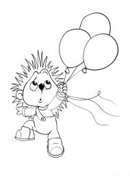 Ежик с воздушными шариками. Раскраска