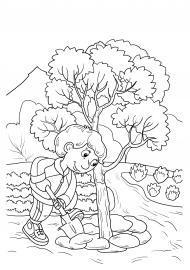 Раскраска. Вскапываем дерево — скачать и распечатать ...