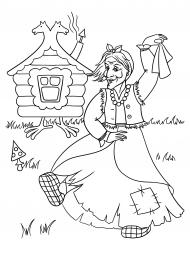 Баба яга раскраска для детей распечатать 7