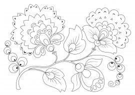 раскраска цветов хохломская роспись скачать и распечатать