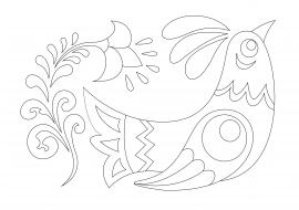 Раскраска хохлома птицы