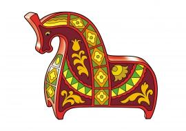 Лошадь в стиле хохломы. Деревянная игрушка