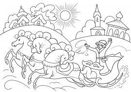 палехская роспись раскраска скачать и распечатать