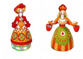 Дымковская игрушка. Картинка «Барыня»