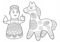 Раскраска филимоновских игрушек