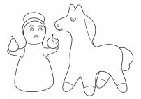 Нарисуй филимоновский узор на игрушках