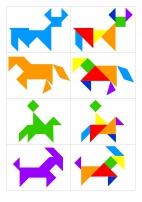 Схемы для танграма: корова, лошадь, коза (домашние животные)