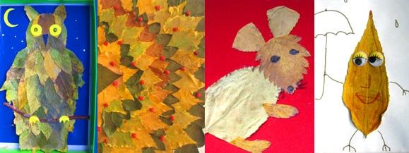 Детское творчество из осенних листьев