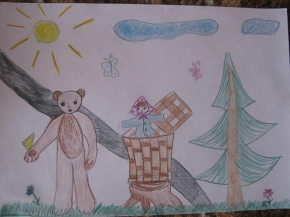 Рисунок к сказке маша и медведь 1 класс, правильно