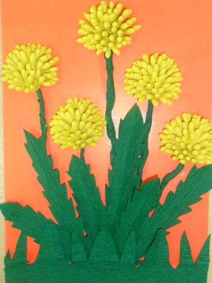 Поделки из ватных палочек с описанием цветы