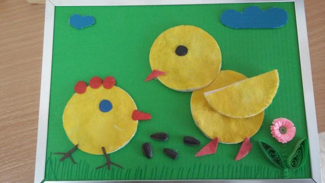 Цыпленок из дисков ватных своими руками 4