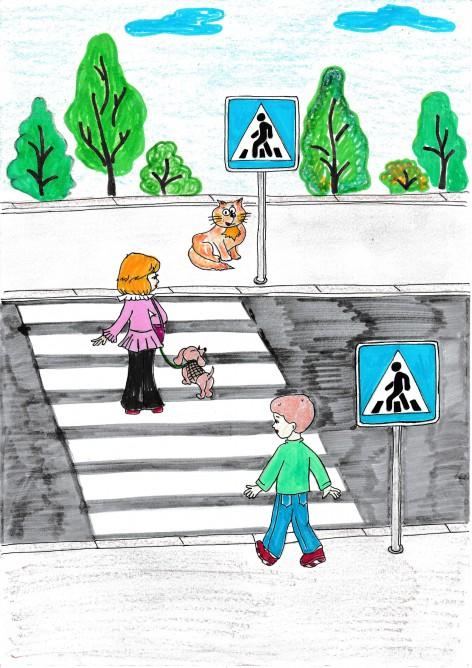 наличии широкий рисунок на тему правила поведения на дороге отметить