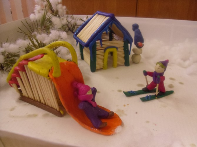 Зимние поделки в детский сад из пластилина 85