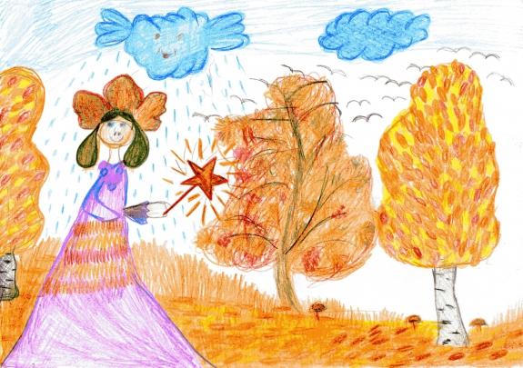 Рисунки детей об осени 2 класс в картинках