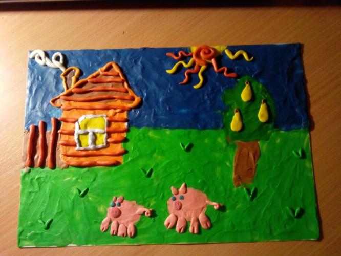 Как сделать деревню из пластилина на картоне видео