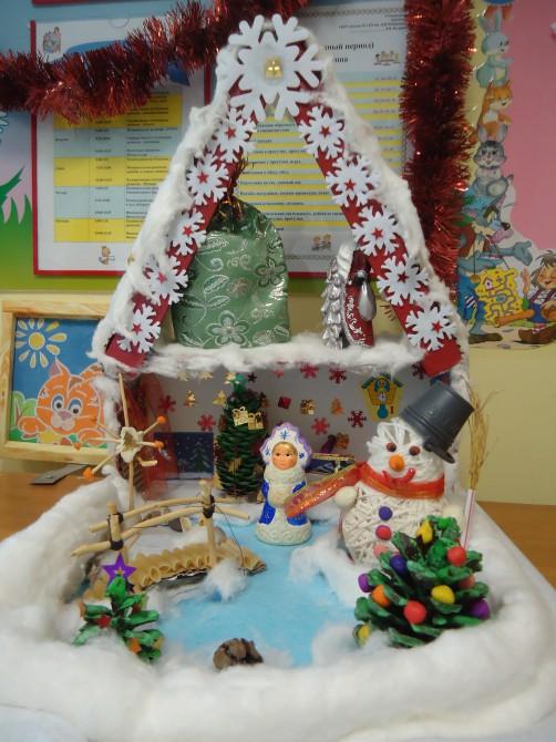 материал нитей, детское творчество поделки дом для дедушки мороза материалы