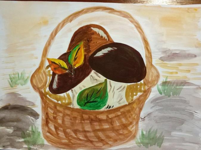 лукошко с грибами рисунок карандашом рынке представлен