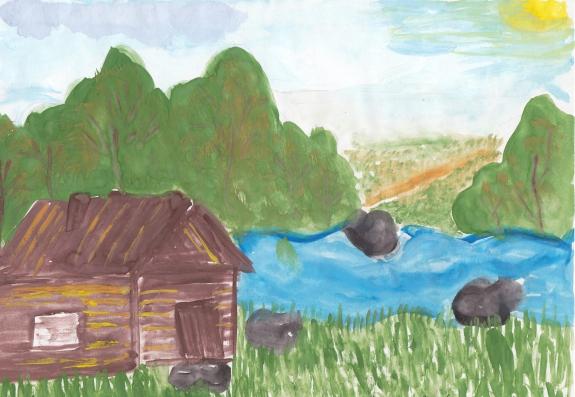 Рисунок деревенька моя удмуртия