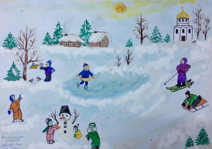 них рисунок зима зимние забавы пучках два