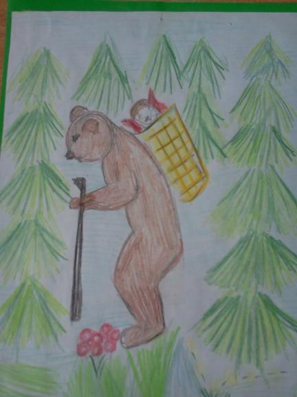 Рисунок к сказке маша и медведь 1 класс