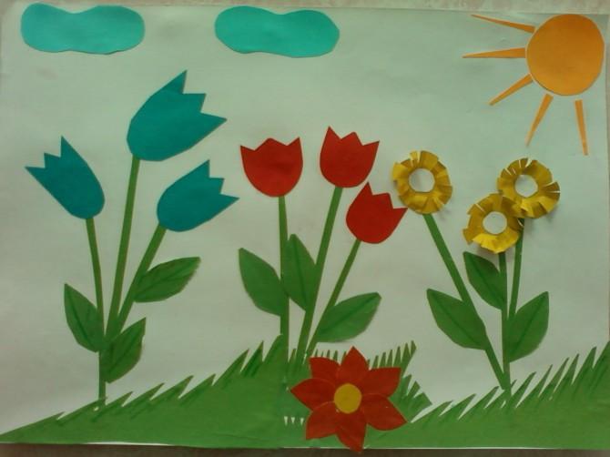 Цветочная полянка аппликация картинки